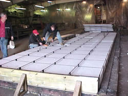 Picture of pre-fabrication process of foam wall panel.